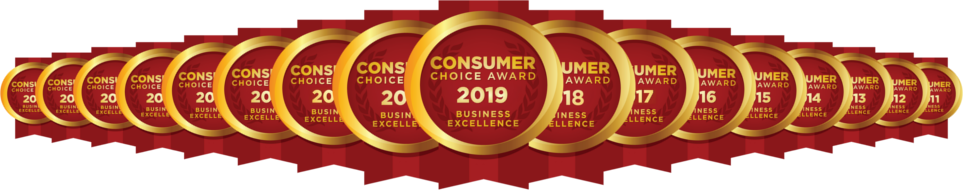 Consumer Choice Award Logo Array 2011 to 2019